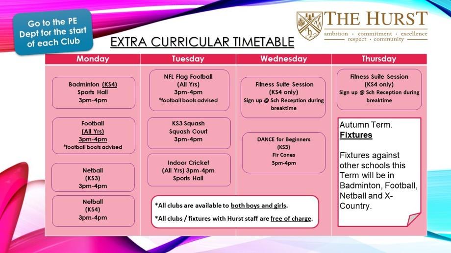 Extra Curricular Timetable 2021 2022
